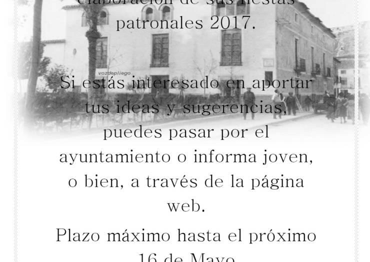 Abierto proceso participativo para la elaboración de Fiestas Patronales 2017