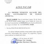 Subasta Cantina Piscinas Municipales 2017