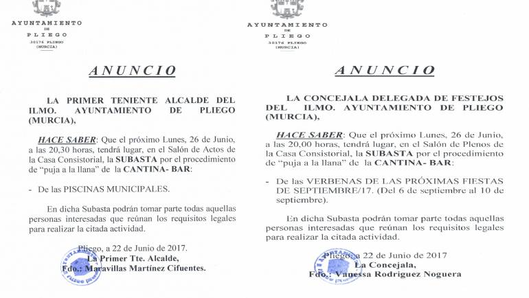 """Convocadas subastas Cantina-bar """"Piscinas Municipales"""" y """"Verbena Fiestas Septiembre 2017"""" para el día 26/06/2017"""