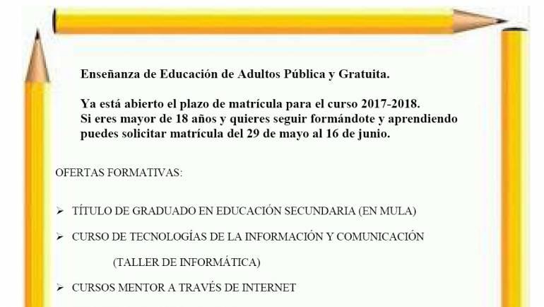 """Abierto plazo de matrícula del Centro Comarcal de Educación de Adultos """"Río Mula"""""""