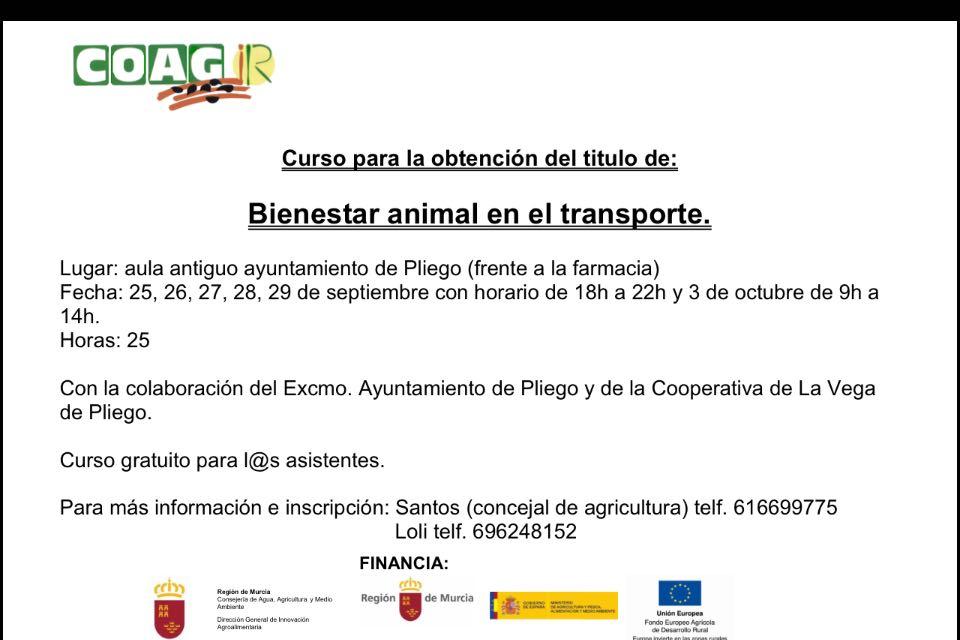 Curso de Formación. Bienestar animal en el transporte.