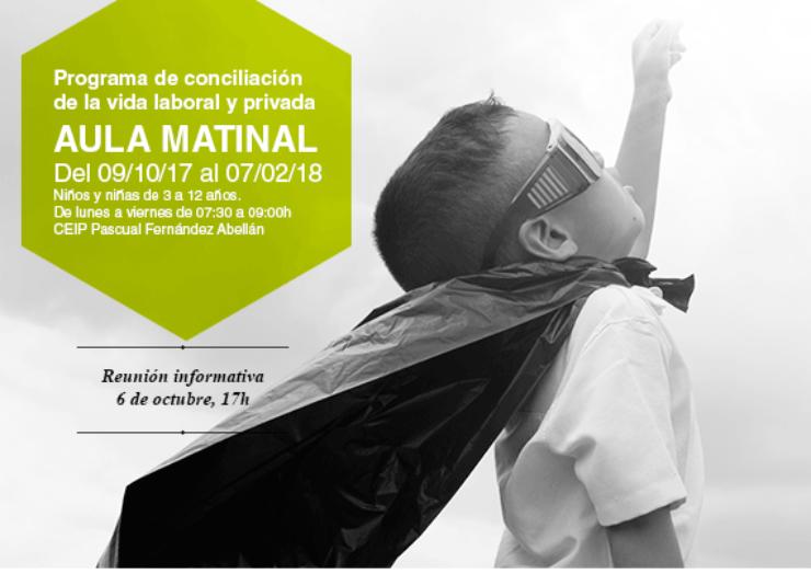 """Abierto el plazo de inscripción para el Programa de Conciliación de la vida laboral y privada """"Aula matinal 2017-2018""""."""