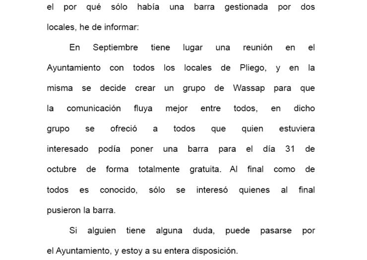 Nota informativa organización Fiesta Halloween