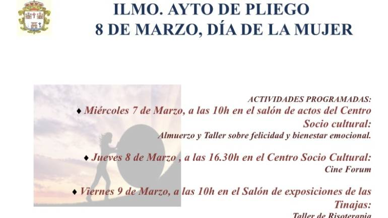 El Ayuntamiento de Pliego realiza talleres y actos culturales con motivo del Día de la Mujer