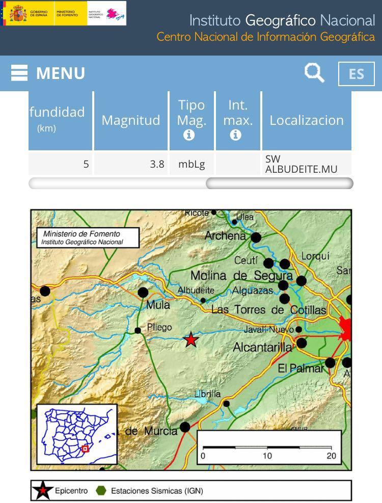 Terremoto de 3.8 en Pliego