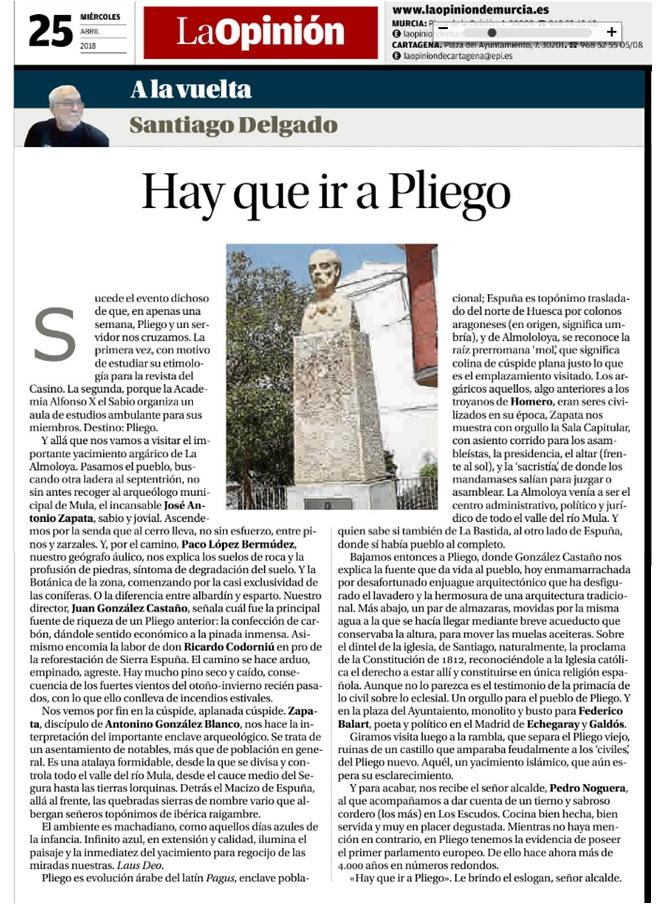 La Opinión publica en su contraportada el artículo de Santiago Delgado 'Hay que ir a Pliego'