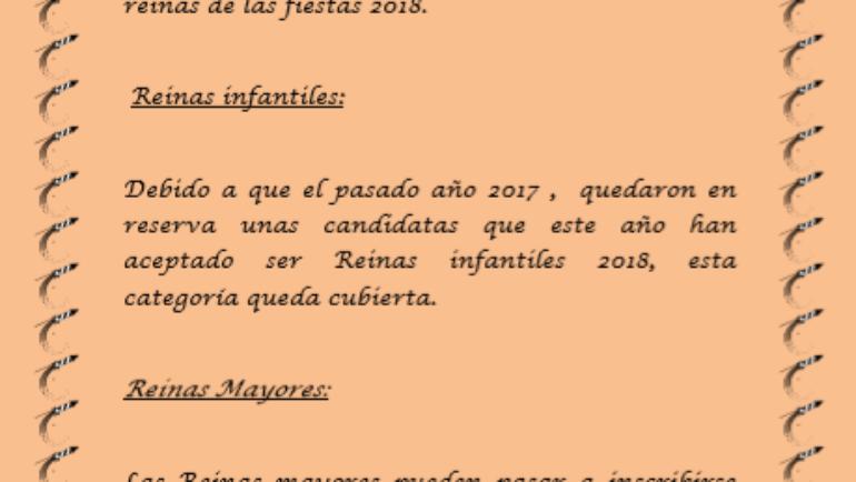 Abierto el plazo de inscripción para reinas de las Fiestas 2018