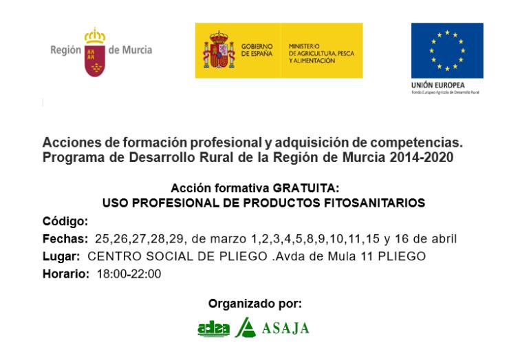 El 25 de marzo da comienzo un Curso gratuito de uso de productos fitosanitarios