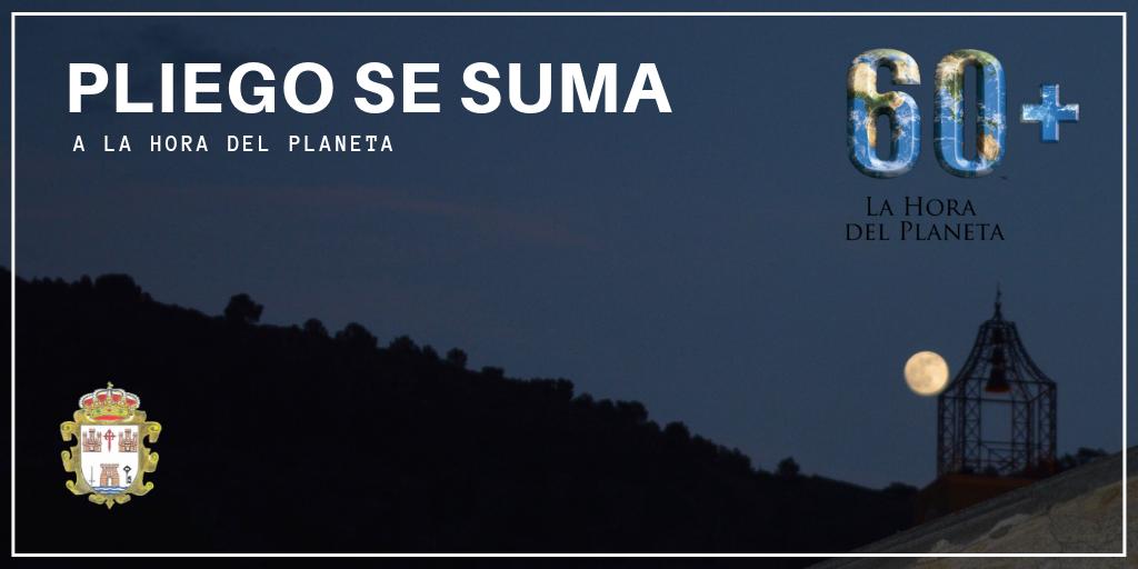 El Ayuntamiento de Pliego se suma esta noche a la iniciativa 'La hora del planeta'