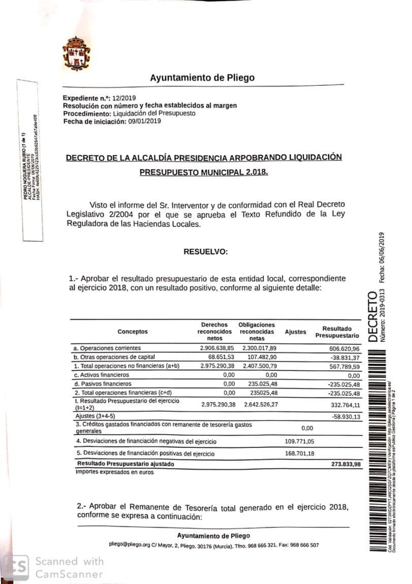 El Ayuntamiento de Pliego finalizó 2018 con una buena situación económica logrando un superávit de más de 270.000€