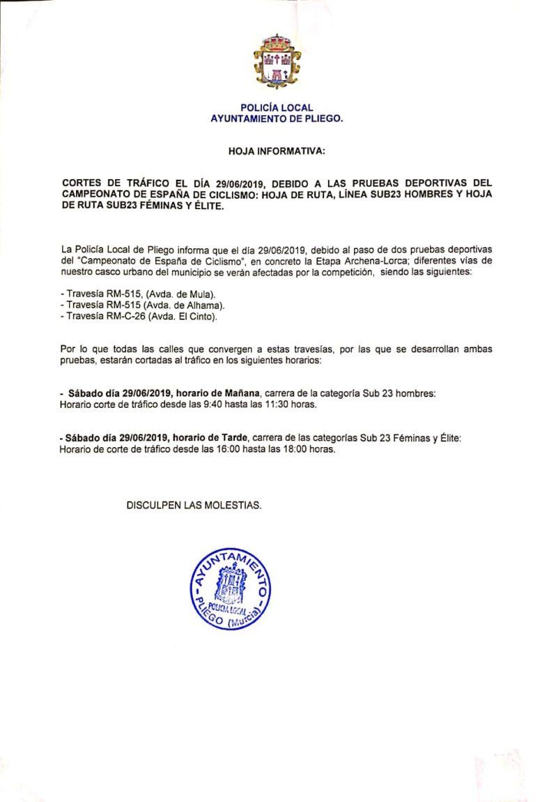 Este sábado se realizarán varios cortes de tráfico debido al paso por Pliego de las pruebas del Campeonato de España de ciclismo