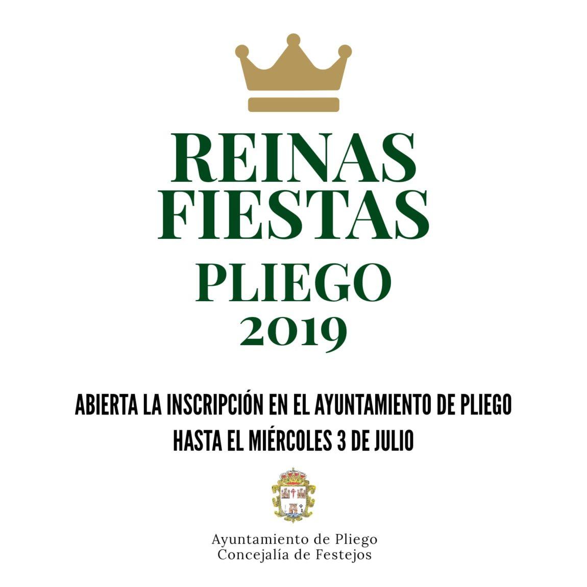 Abierto el plazo de inscripción para participar en la elección de reinas de las Fiestas de Pliego 2019