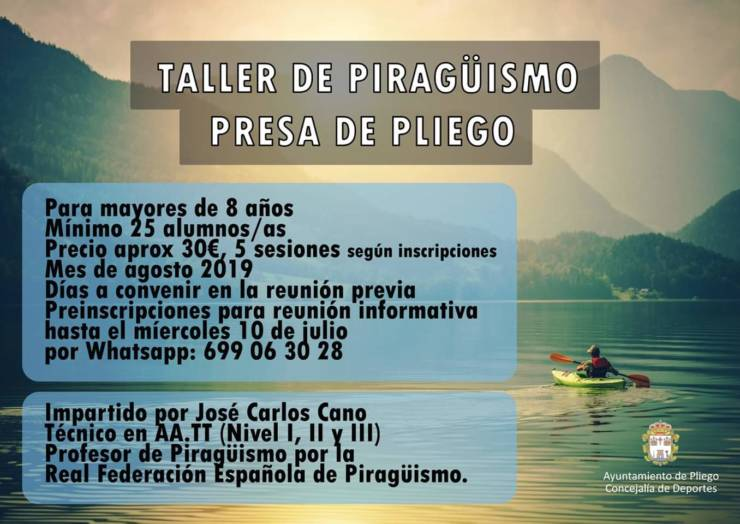 Este miércoles se realiza una reunión informativa sobre el Taller de Piragüismo
