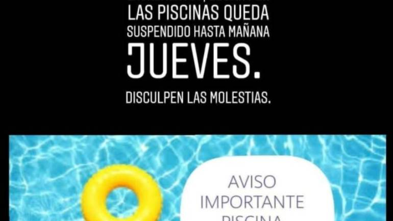 Queda suspendido el baño en la piscina municipal hasta mañana jueves