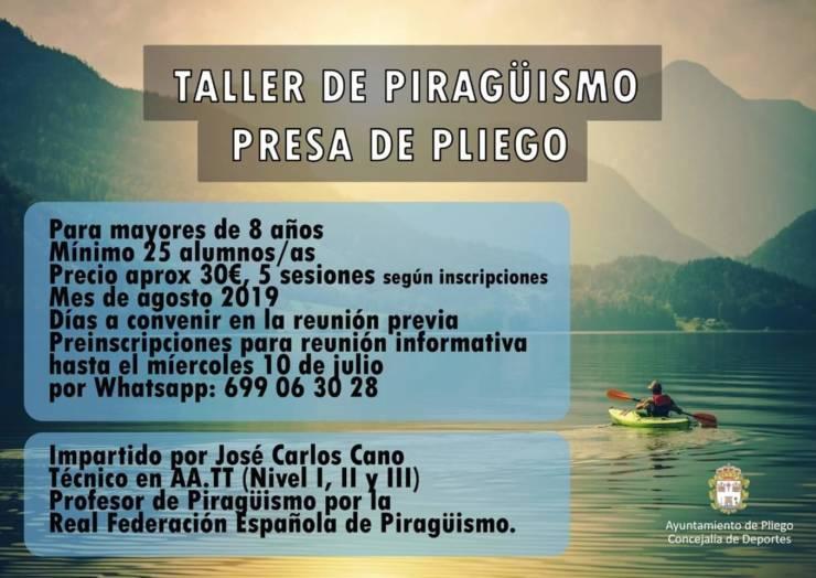 Abierto el plazo para inscribirse en un taller de piragüismo en la Presa de Pliego
