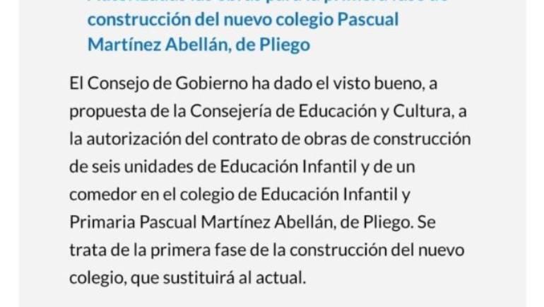 El Consejo del Gobierno Regional ha dado la autorización al contrato de obras para el inicio de la construcción del nuevo colegio de Pliego