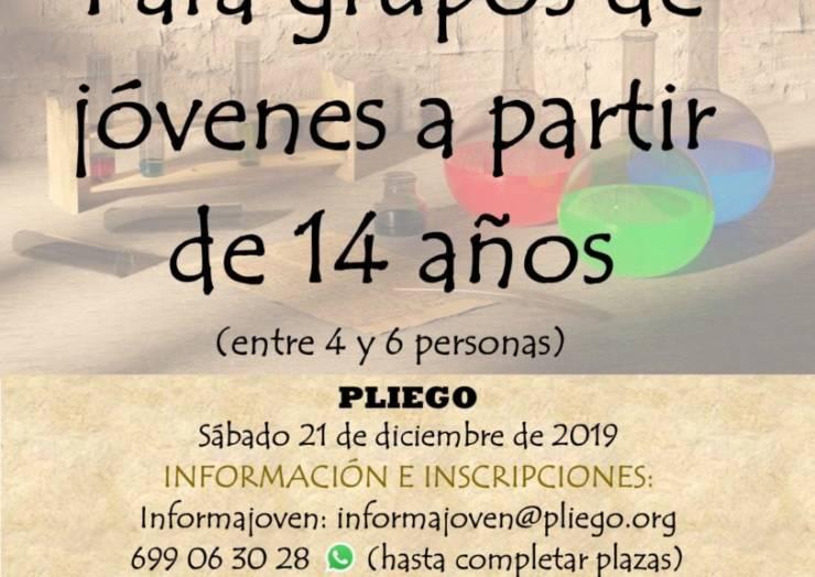 Este sábado se realiza en Pliego una Escape Room para los más jóvenes