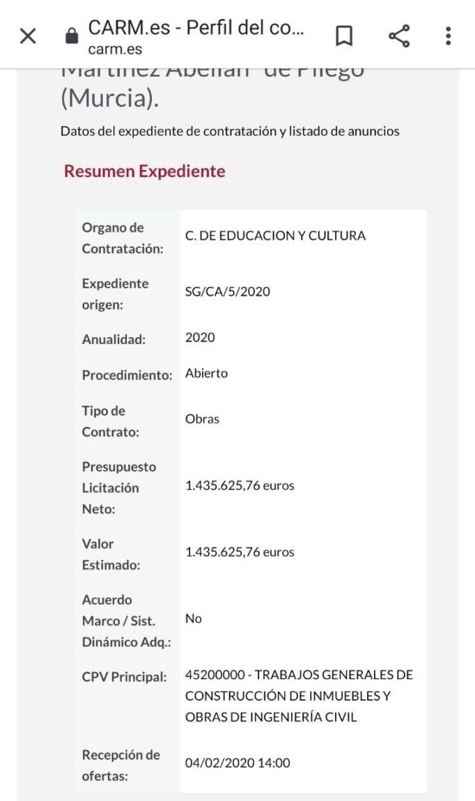 La oferta por las obras del nuevo colegio de Pliego ya aparece en el perfil del contratante para la inminente licitación