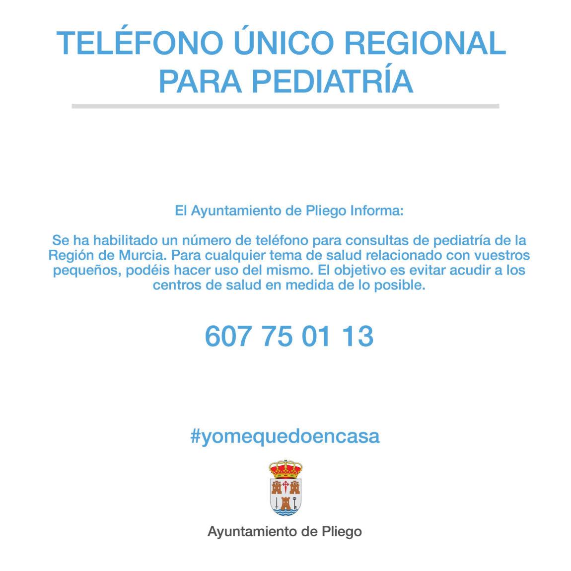 Teléfono único regional para pediatría
