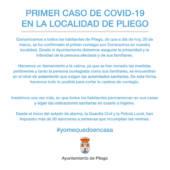 Actualización de casos de contagios por Covid-19 en Pliego