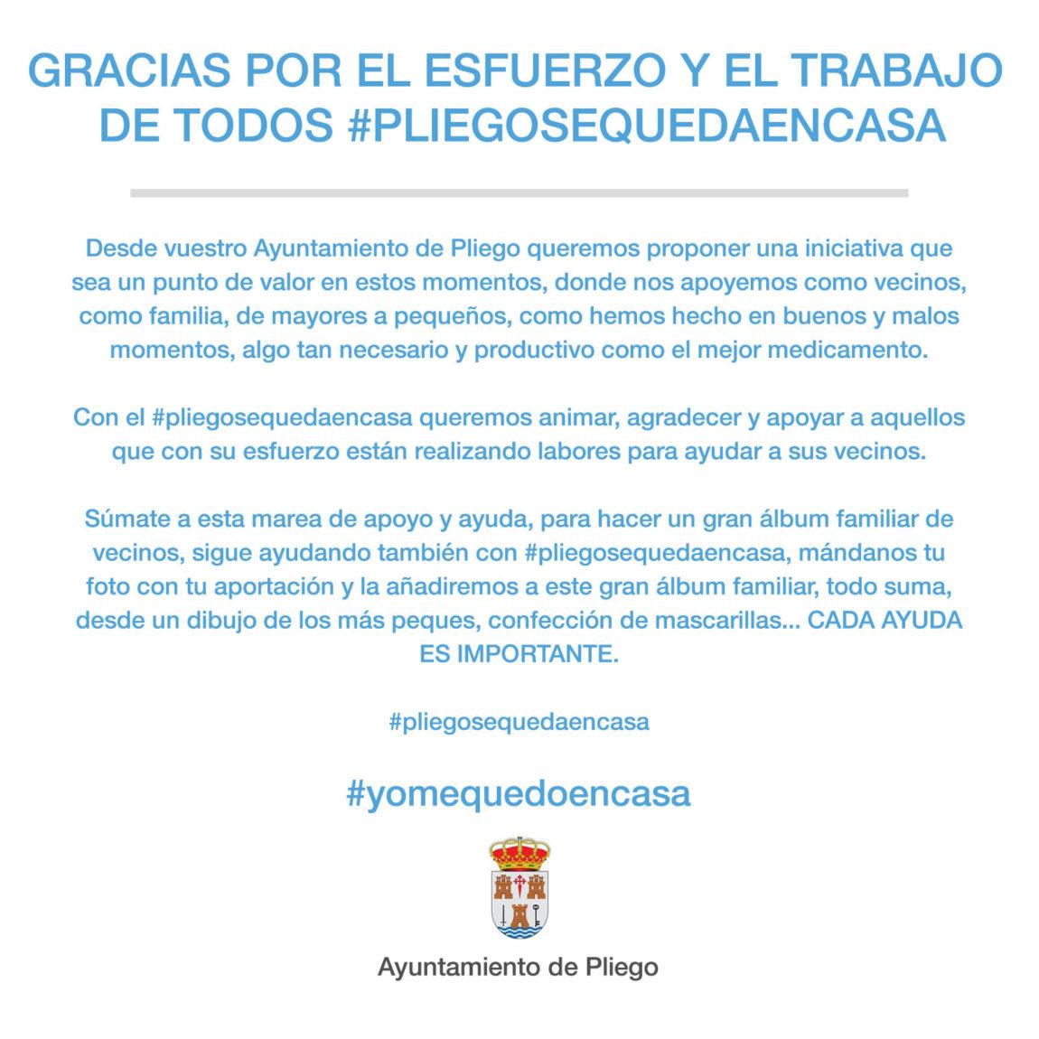 Gracias por el esfuerzo y el trabajo de todos #pliegosequedaencasa