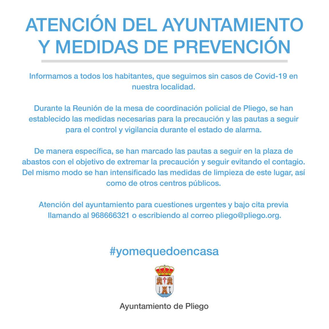 Atención del Ayuntamiento y medidas de prevención