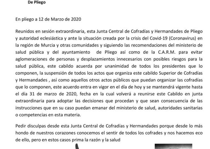 Se suspenden las actividades de la Junta Central de Cofradías y Hermandades de Pliego