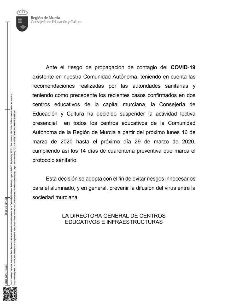 Suspendidas las actividades lectivas en los centros educativos de la región