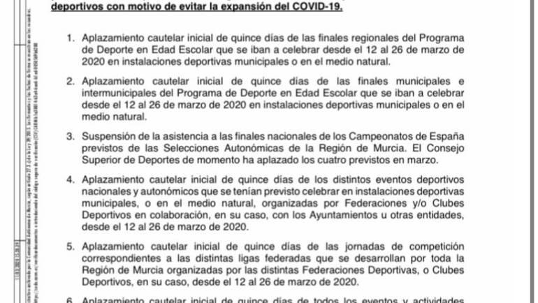 Se aplazan los eventos deportivos con objetivo de evitar la expansión del Covid-19