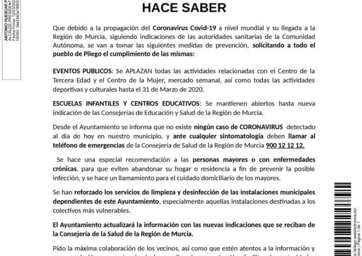El Alcalde del Ilmo. Ayuntamiento de Pliego informa sobre eventos y centros educativos