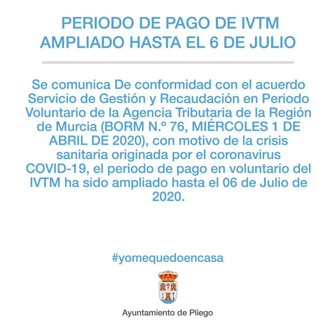 El periodo de pago en voluntario del IVTM ha sido ampliado hasta el 06 de Julio de 2020