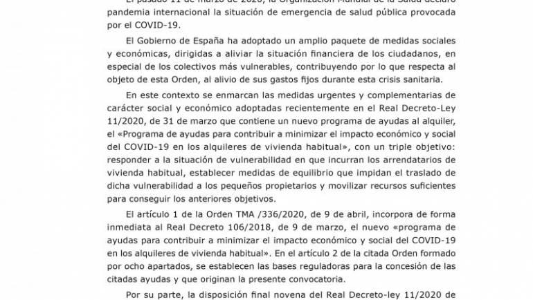 Ayudas para el pago del alquiler a los afectados por el Covid-19