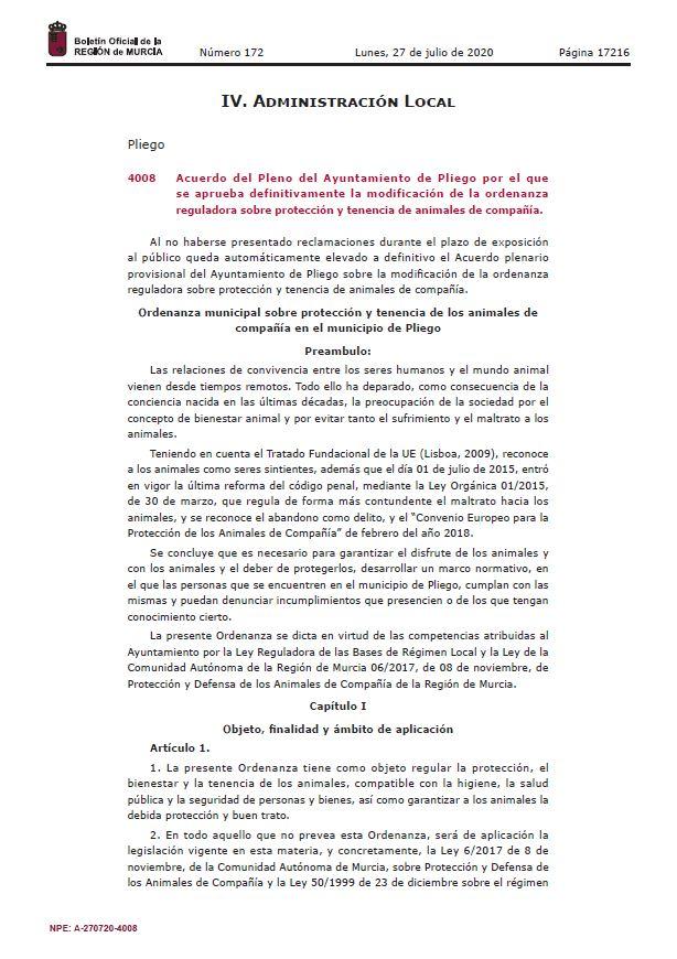 Se aprueba definitivamente la modificación de la ordenanza reguladora sobre protección y tenencia de animales de compañía
