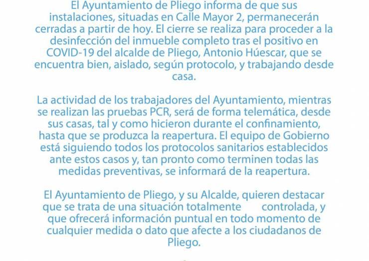 CIERRE PARA DESINFECCÓN DEL AYTO. DE PLIEGO POR POSITIVO EN COVID-19