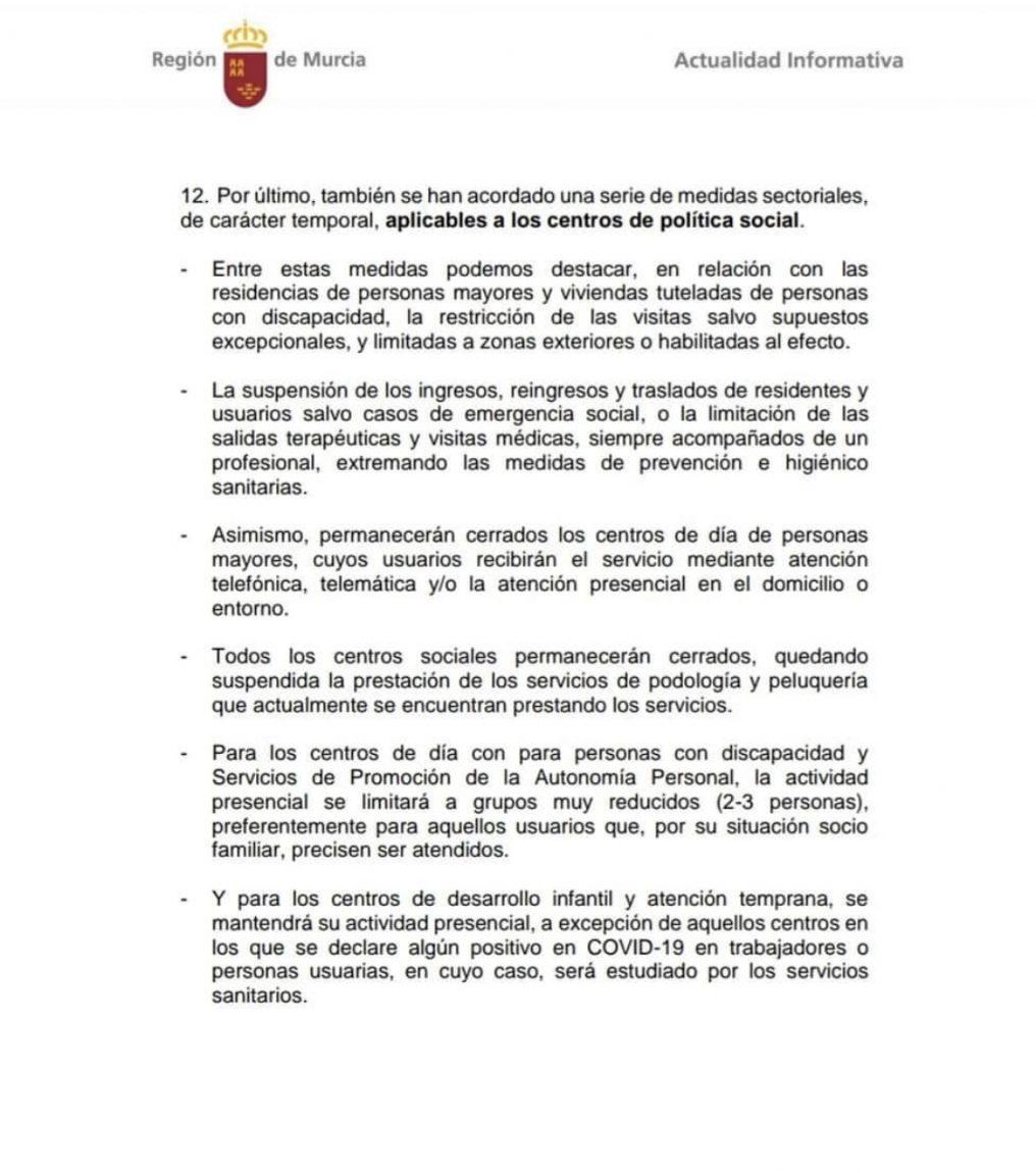 Restricciones y medidas a llevar a cabo frente a la Covid-19, dictadas por el consejo de gobierno de la Región de Murcia