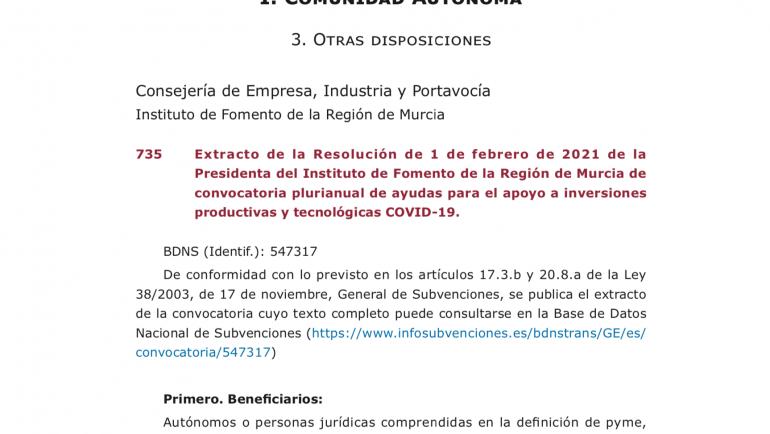 Convocatoria ayudas para el apoyo a inversiones productivas y tecnológicas COVID-19.