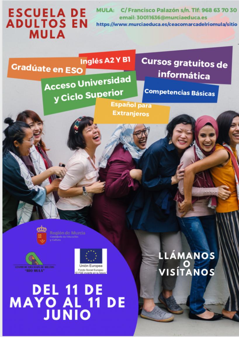 Matriculación abierta en el Centro de Adultos «Río Mula»