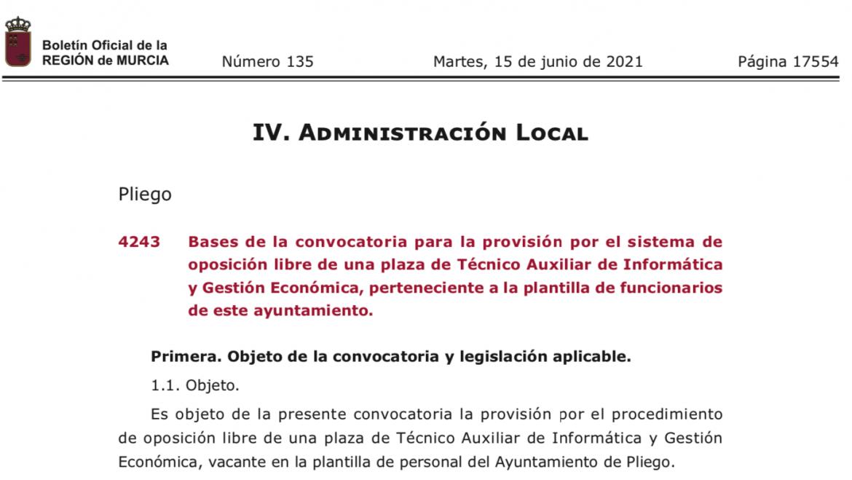 Publicadas las bases de las oposiciones ofertadas para la plantilla de funcionarios de este ayuntamiento.
