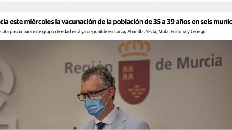 Comienza la vacunación para personas de entre 35 y 39 años