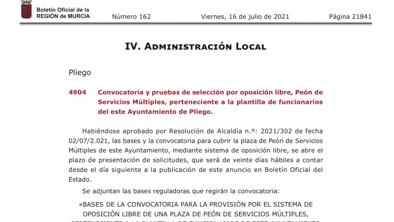 Se abre la convocatoria y pruebas de selección por oposición libre para: Peón de Servicios Múltiples