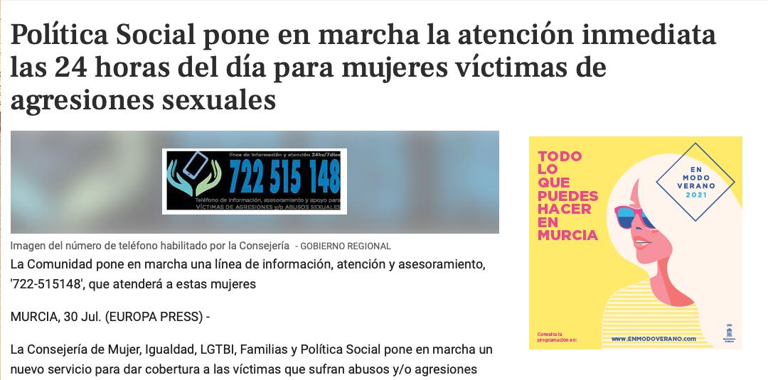 Política Social pone en marcha la atención inmediata las 24 horas del día para mujeres víctimas de agresiones sexuales