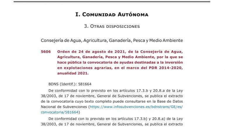 Convocatoria de ayudas destinadas a la inversión en explotaciones agrarias.
